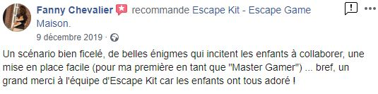 avis Escape kit, jescape game à la maison