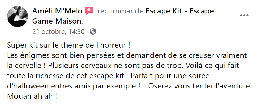 Avis escape game maison hantée